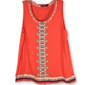 ANTHROPOLOGIE THML Orange Embroidered Blouse, M